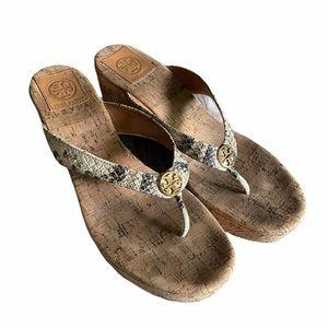 TORY BURCH cork wedge snakeskin sandals
